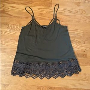 Express Olive Green Lace Detail Cami